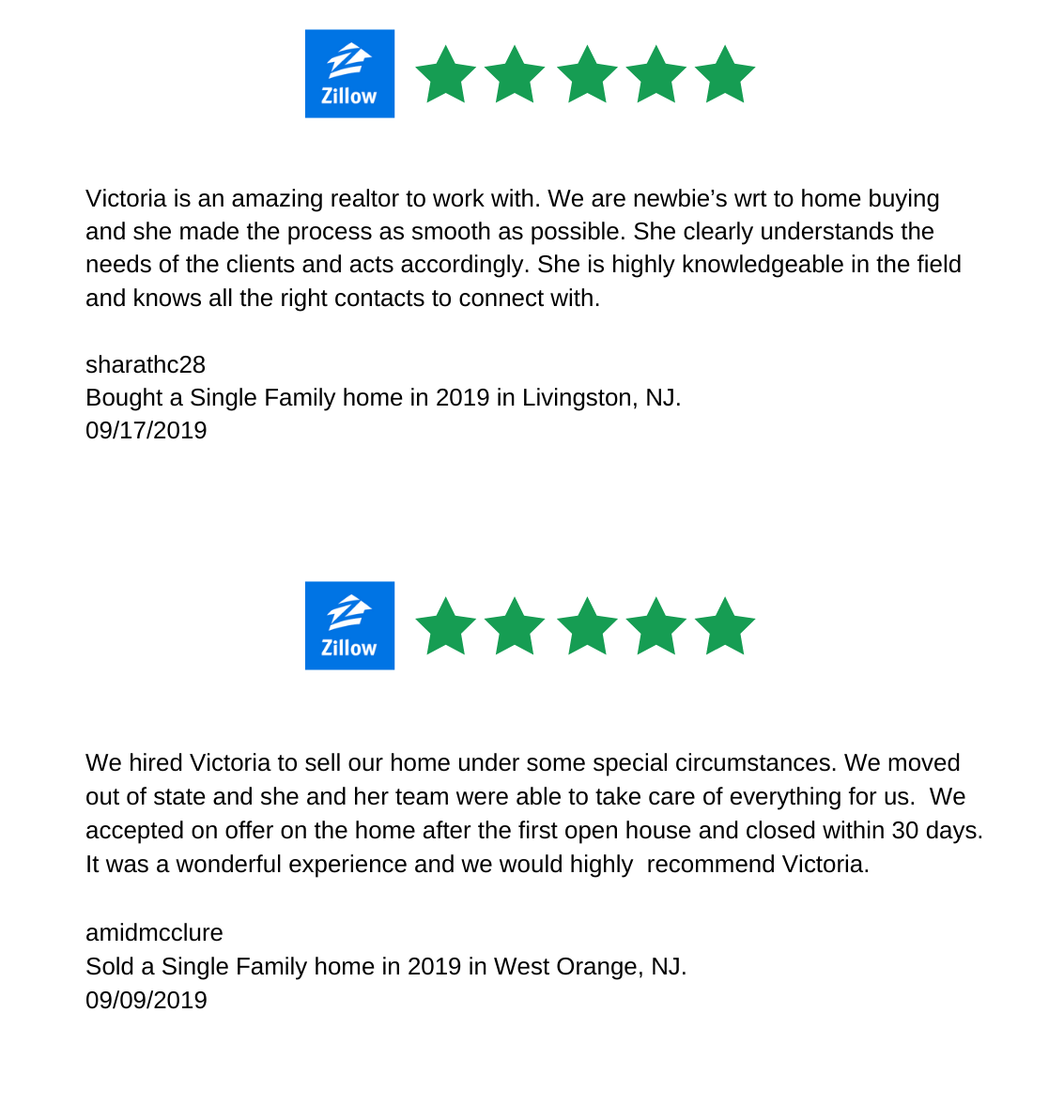 Zillow Reviews for Victoria Carter, Realtor